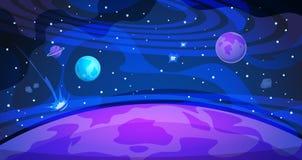 Planetutrymmebakgrund Affisch för plan abstrakt för natt för himmelgalaxuniversum modern vetenskap för landskap Kosmosbaner stock illustrationer