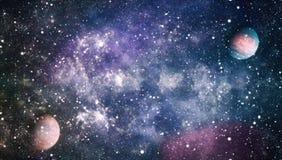Planety, gwiazdy i galaxies w kosmosie pokazuje piękno eksploracja przestrzeni kosmicznej, Elementy meblujący NASA - Wizerunek obrazy stock