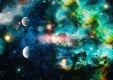 Planety, gwiazdy i galaxies w kosmosie pokazuje piękno eksploracja przestrzeni kosmicznej, Elementy meblujący NASA - Wizerunek zdjęcia stock