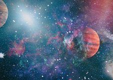 Planety, gwiazdy i galaxies w kosmosie pokazuje piękno eksploracja przestrzeni kosmicznej, Elementy meblujący NASA - Wizerunek fotografia royalty free