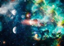 Planety, gwiazdy i galaxies w kosmosie pokazuje piękno eksploracja przestrzeni kosmicznej, Elementy meblujący NASA - Wizerunek zdjęcia royalty free