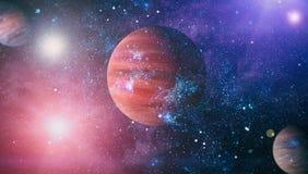 Planety, gwiazdy i galaxies w kosmosie pokazuje piękno eksploracja przestrzeni kosmicznej, Elementy meblujący NASA obraz stock