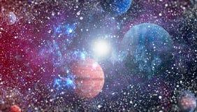 Planety, gwiazdy i galaxies w kosmosie pokazuje piękno eksploracja przestrzeni kosmicznej, Elementy meblujący NASA obrazy stock