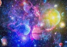 Planety, gwiazdy i galaxies w kosmosie pokazuje piękno eksploracja przestrzeni kosmicznej, Elementy meblujący NASA zdjęcia stock