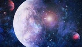 Planety, gwiazdy i galaxies w kosmosie pokazuje piękno eksploracja przestrzeni kosmicznej, Elementy meblujący NASA royalty ilustracja