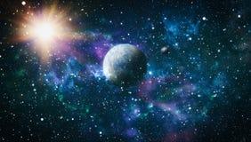 Planety, gwiazdy i galaxies w kosmosie pokazuje piękno eksploracja przestrzeni kosmicznej, Elementy meblujący NASA fotografia stock