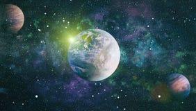 Planety, gwiazdy i galaxies w kosmosie pokazuje pi?kno eksploracja przestrzeni kosmicznej, Elementy mebluj?cy NASA royalty ilustracja