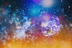 Planety, gwiazdy i galaxies w kosmosie pokazuje pi?kno eksploracja przestrzeni kosmicznej, Elementy mebluj?cy NASA ilustracja wektor