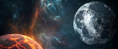 Planety i galaxies, nauki fikci tapeta Piękno głęboka przestrzeń Zdjęcie Royalty Free