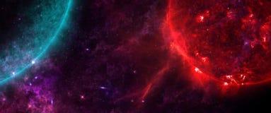 Planety i galaxies, nauki fikci tapeta Piękno głęboka przestrzeń Obrazy Royalty Free
