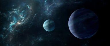 Planety i galaxies, nauki fikci tapeta Piękno głęboka przestrzeń Zdjęcia Stock