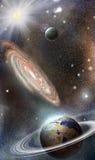 Planety i galaxies w przestrzeni Obrazy Royalty Free