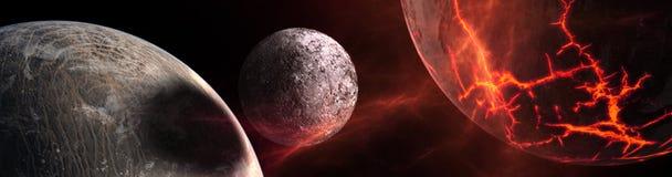 Planety i galaxy, nauki fikci tapeta ilustracja wektor