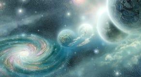 Planety i galaxy w cyan błękitnych brzmieniach Zdjęcie Stock