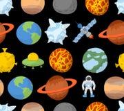 Planety układu słonecznego bezszwowy wzór ilustracji