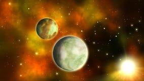 Planety w przestrzeni pętla ilustracji