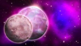 Planety w przestrzeni pętla ilustracja wektor
