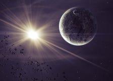 Planety z jaśnienie gwiazdą w przestrzeni ilustracja wektor