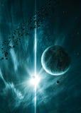 Planety z jaśnienie gwiazdą w przestrzeni Obraz Royalty Free