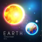Planety ziemia i Olśniewający słońce w przestrzeni z gwiazdami Univerce nackground Realistyczny Niebiański projekt royalty ilustracja
