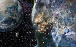 Planety ziemia na astronautycznym tle. royalty ilustracja