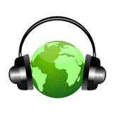 Planety ziemia w słuchawkach Obrazy Stock
