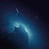 Planety ziemia w wszechświacie Przestrzeń w nocy z gwiazdami Obrazy Stock