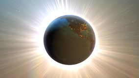 Planety ziemia z nighttime i wschodem słońca ilustracja wektor