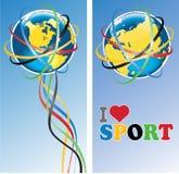 Planety ziemia z Olimpijskim rings.Banners.Vector Ilustracji