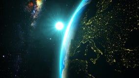 Planety ziemia z Spektakularnym zmierzchem Zdjęcie Stock