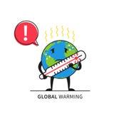 Planety ziemia z termometru wektoru ilustracją ilustracja wektor