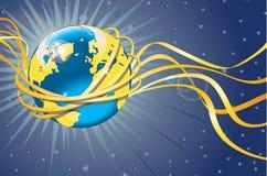 Planety ziemia z złocistą orbitą i taśmami. Astronautyczny widok Ilustracji