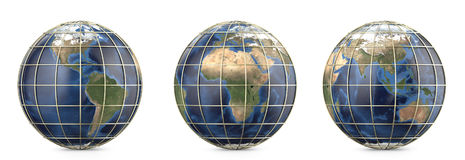 Planety ziemia z złocistą siatką Pokazywać Ameryka, Europa, Afryka, Azja, Australia kontynent Zdjęcia Royalty Free