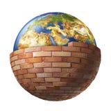 Planety ziemia za ściana z cegieł obraz royalty free
