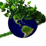 Planety ziemia zakrywająca z liśćmi Eco kula ziemska Zdjęcia Royalty Free