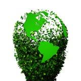 Planety ziemia zakrywająca z liśćmi Eco kula ziemska Obrazy Royalty Free