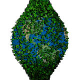 Planety ziemia zakrywająca z liśćmi Eco kula ziemska Fotografia Stock
