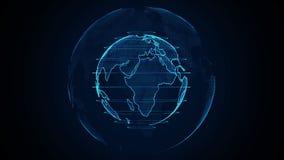 Planety Ziemska animacja Płodozmienna kula ziemska, olśniewający kontynenty z akcentować krawędziami Abstrakcjonistyczna cyber an royalty ilustracja