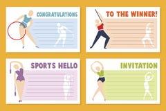 Planfahnen-Schablonenentwurf für Sportereignis, Turnier oder Meisterschaft - Sportgrußkarte stock abbildung