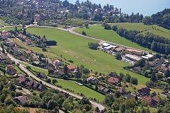 Planfait landing field. Planfait paragliding landing field in France Stock Images