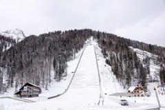 Planica, Slovénie - 18 octobre 2017 - la construction du centre nordique de Planica avec des collines de sauter de ski Planica es Photo stock