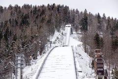 Planica, Slovénie - 18 octobre 2017 - la construction du centre nordique de Planica avec des collines de sauter de ski Planica es Photographie stock