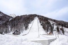 Planica, Slovénie - 18 octobre 2017 - la construction du centre nordique de Planica avec des collines de sauter de ski Planica es Photographie stock libre de droits