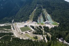 Planica sports centre with ski jumps in Julian Alps Stock Image