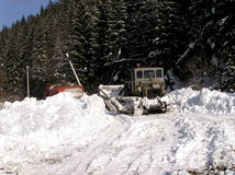 Planierraupen und Winter Lizenzfreies Stockbild