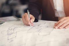 Planierungspapier des Architekten Stockbilder