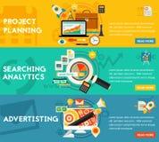 Planificación buscando concepto de la publicidad del Analytics ilustración del vector