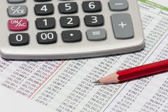 Planificación financiera con la calculadora y el lápiz Fotos de archivo
