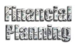 Planificación financiera La inscripción tiene una textura de la fotografía, que representa muchas cuentas de dólar americano ilustración del vector