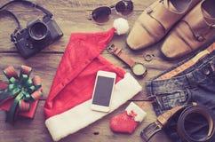 Planificación para el viaje con festival de la Navidad imágenes de archivo libres de regalías